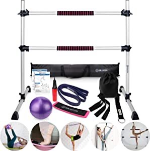 B BRANTON Ballet Barre Workout Equipment Bundle - 4' Height Adjustable Lightweight 5 Piece Home Dance Set Including Ballet Bar and Leg Stretcher - Ballet Exercise Set for Home Practice