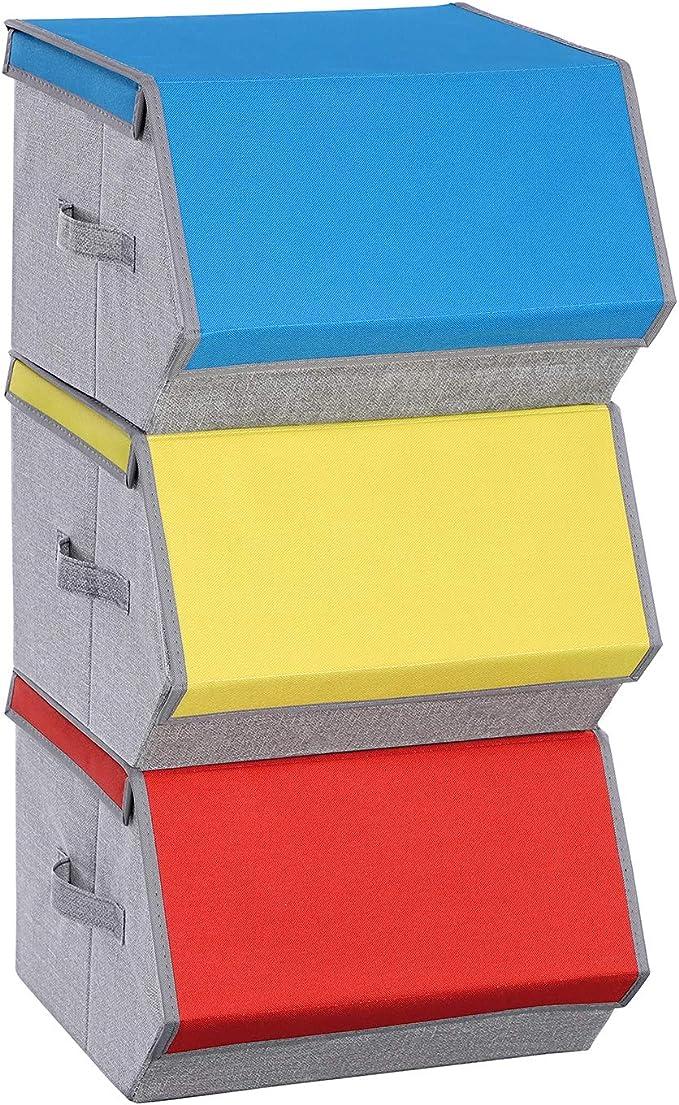 SONGMICS Juego de 3 Contenedores de Colores con Tapa Magnética, Apilables, Cajas Plegables con Marco y Asas de Metal, para Juguetes, Ropa, Colores Azul, Naranja y Amarillo RCLB03G: Amazon.es: Hogar