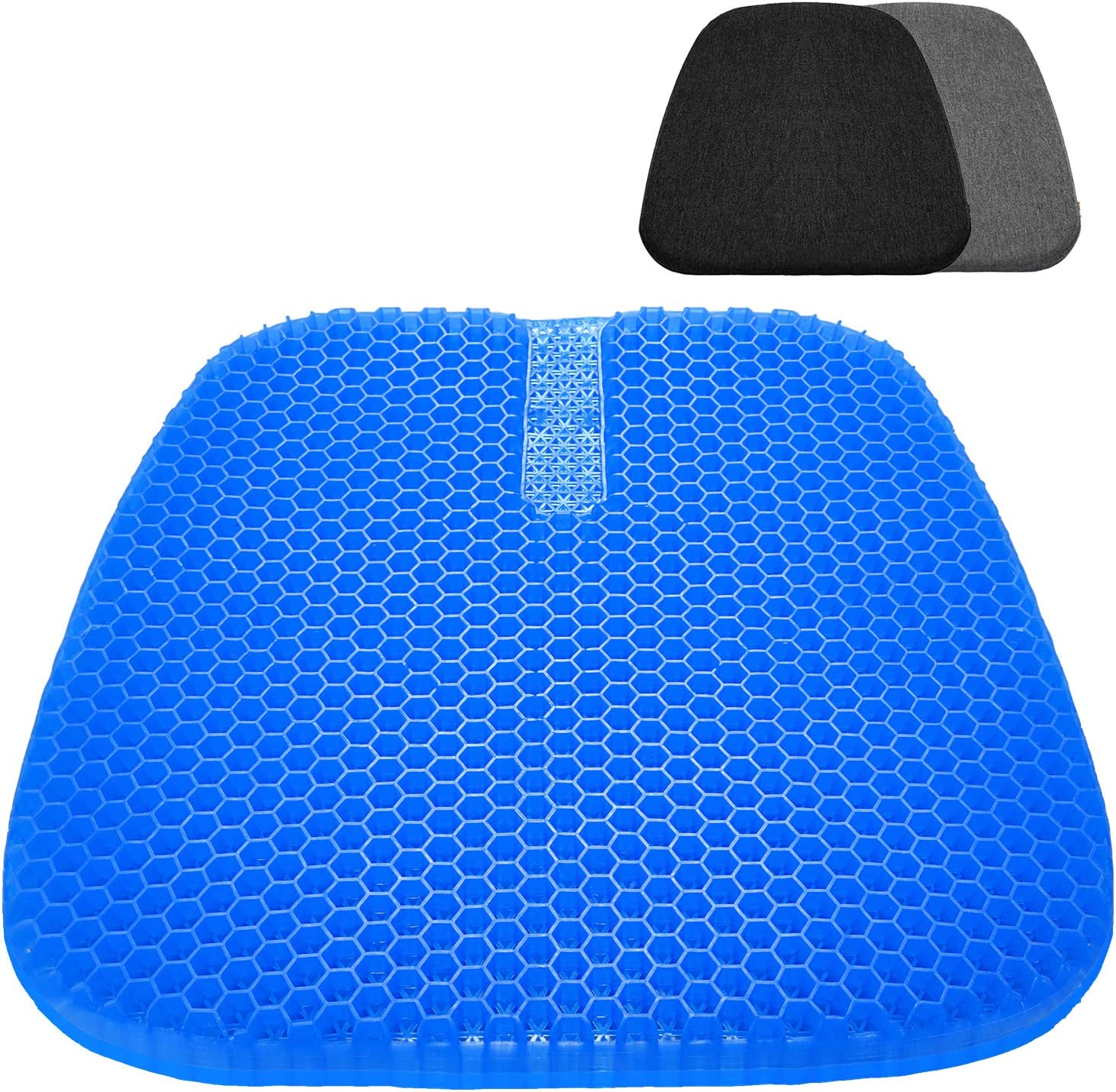 Large Gel Seat Cushion, Upgraded Seat Cushion with 2 Pack Non-Slip Cover, Multi-Use Seat Cushion Super Breathable Honeycomb Design Relief Back Pain Gel Cushion for Office Chair,Car, Wheelchair, Home