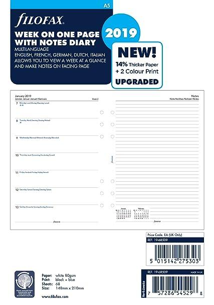 Filofax 19-68509 2019 - Agenda semanal (A5, con notas ...