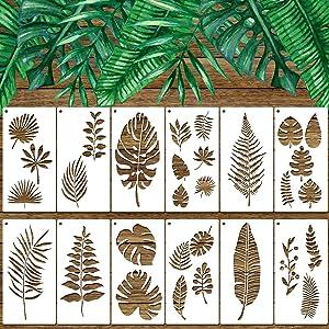 12 Pieces Tropical Leaf Stencils, Fern Leaf Monstera Palm Leaf Turtle Leaf Wall StencilTemplate Botanical Leaves Reusable Stencils Set for Furniture Canvas Wood Plank Crafts DIY, 6 x 12 Inches