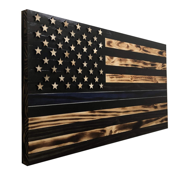 """36""""X19"""" Wood Thin Blue Line American Flag mit 3-D Raised Stars für Gesetz Enforcement und Police Officers. Veteran gemacht bei Arkansas - Wooden Rustic Zuhause DÉCor - Farmhouse Wall Art"""