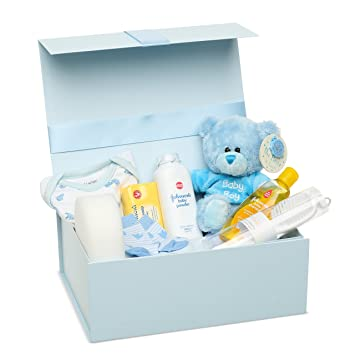 New Baby Boy Gift Set Baby Clothes Teddy Bear And Gifts In A Blue