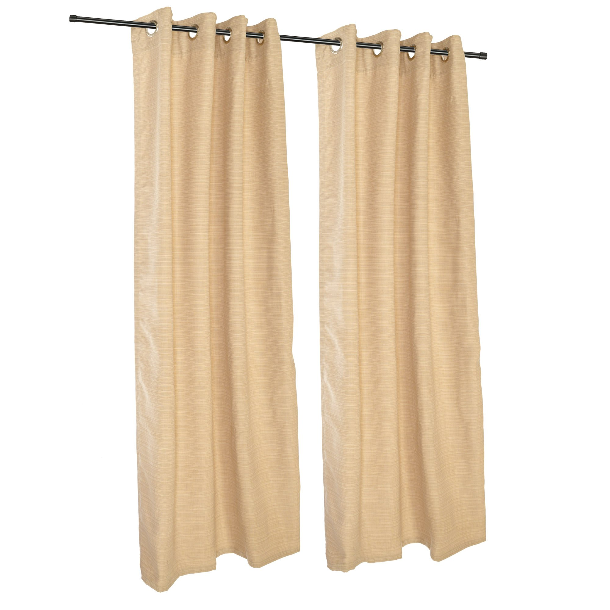 Sunbrella Outdoor Curtain with Grommets-Nickle Grommets-Dupione Bamboo