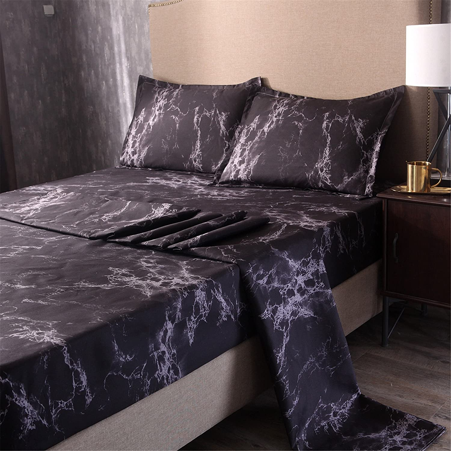 Full, Coffee anicenightclcoffee 100/% Soft Microfiber Fitted Sheet A Nice Night Mable Design Printing Bed Sheet Bedding Set