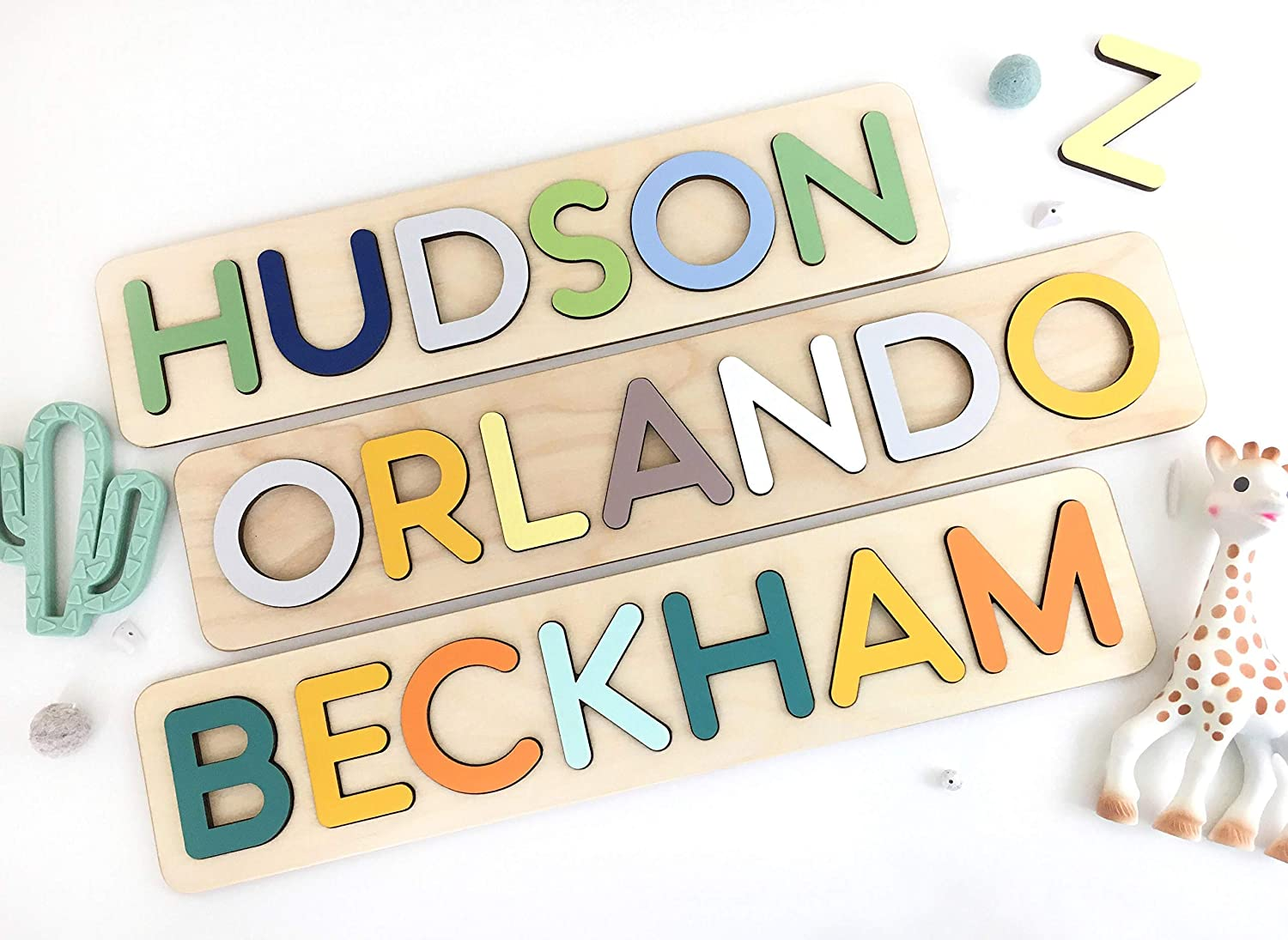 Childs Name Puzzle for 2 year old Toddler learning toys Hand Crafted Personalized Wooden Name Puzzles Baby Shower Gift WoodilyToys