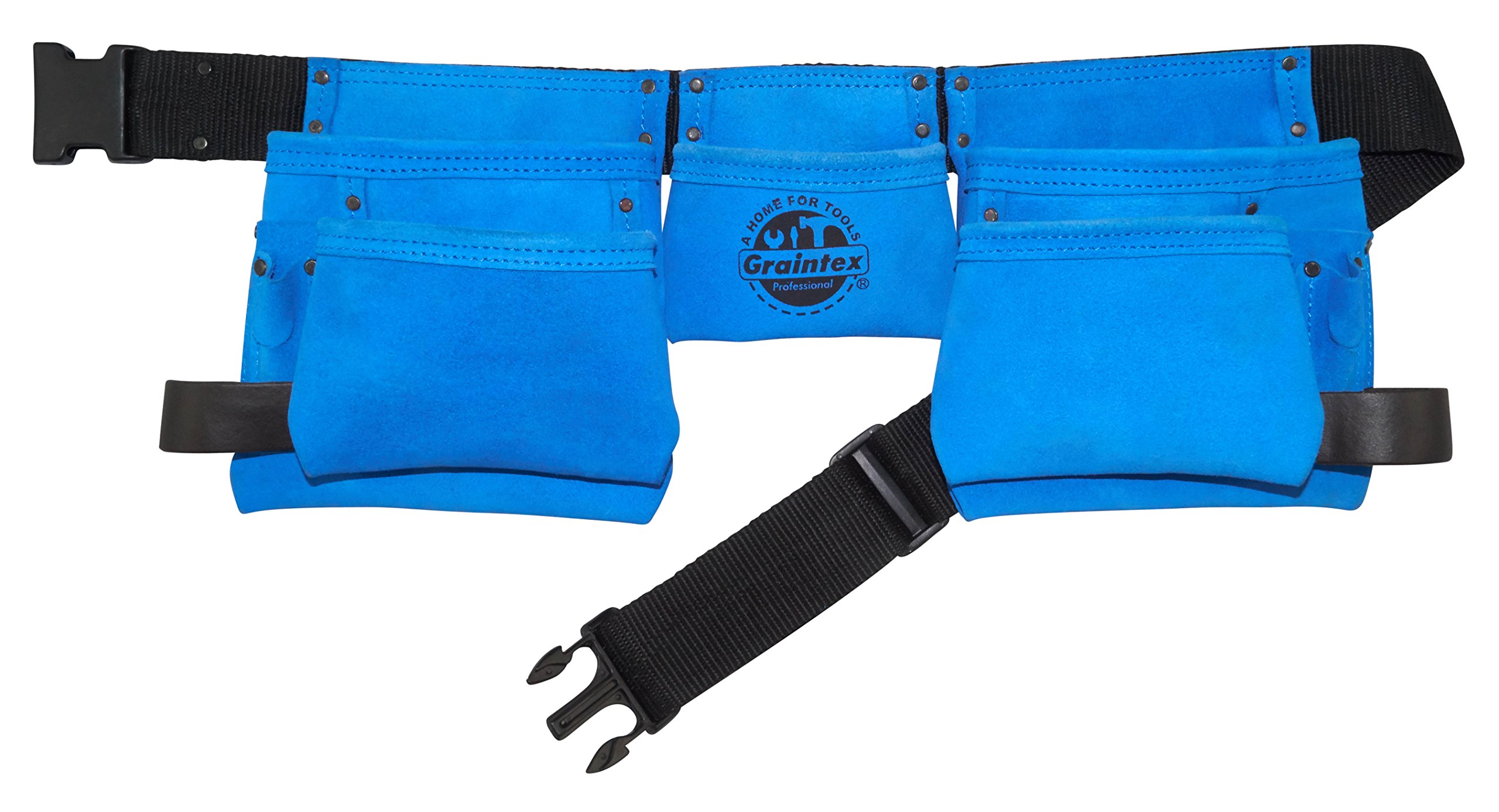 "Graintex DS2125 11 Pocket Blue Suede Leather Work Apron with 2"" Web Belt Quick Release PVC Buckle"