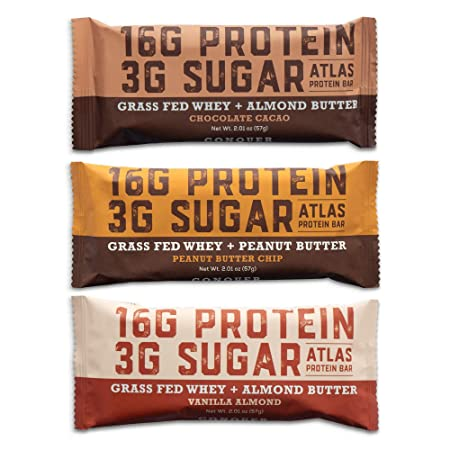 Atlas Bar – Keto Low Carb Friendly Protein Bar, Variety Pack, 2.01 Ounce 9-Pack, 3 of Each Flavor Grass Fed Whey, Low Sugar, Clean Ingredients, All Natural, Gluten Free, Soy Free, and GMO Free