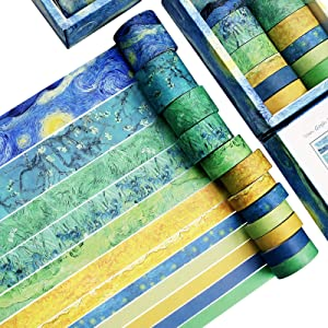 Washi Tape Set of 12 Rolls,Van Gogh Starry Night Decorative Green Leaves Floral Blue Yellow Washi Masking Tape Sets for Craft,Kids,Scrapbook,Bullet Journal,DIY,Gift Wrapping(Yellow)