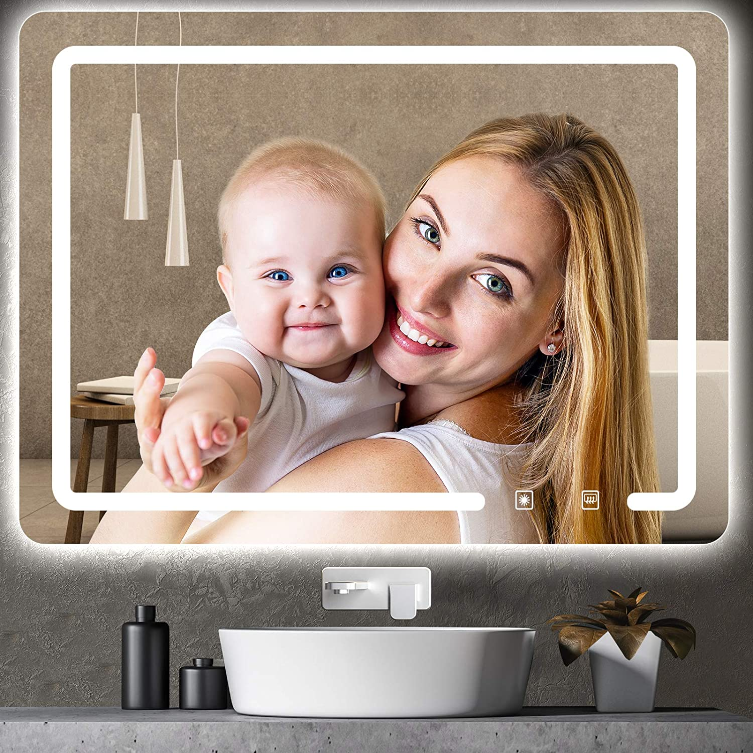ROTTOGOON 32x24 Inch LED Lighted Bathroom Mirror, Wall Mounted Vanity Mirror with Light Color Adjustable, Stepless Dimming Light, Anti-Fog and Memory Function for Horizontal and Vertical Hanging