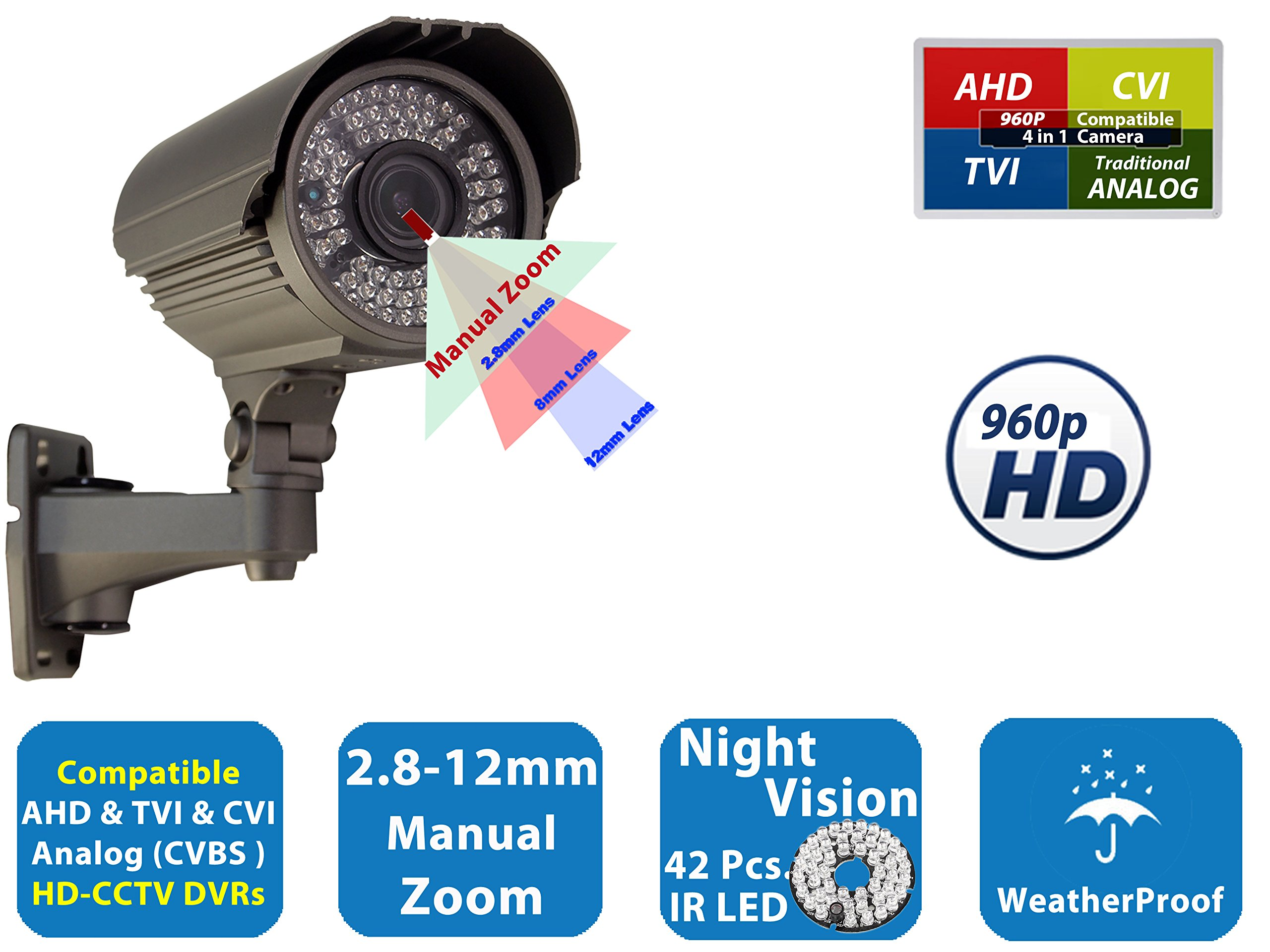 Evertech HD TVI CVI AHD Security Camera 1200TVL SONY Cmos Sensor Outdoor Indoor Weatherproof Night Vision 2.8-12mm Varifocal Lens Bullet CCTV for Security Surveillance Systems with 42 IR Led
