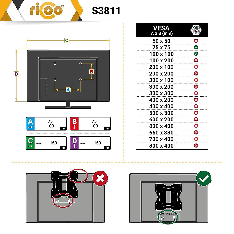RICOO Monitor Halterung S3911 Schwenkbar Neigbar Wand Monitorhalterung Wandhalterung LCD LED TFT Curved 4K Bildschirmhalterung VESA 75x75 100x100 33-69cm 13-27 Zoll Schwarz