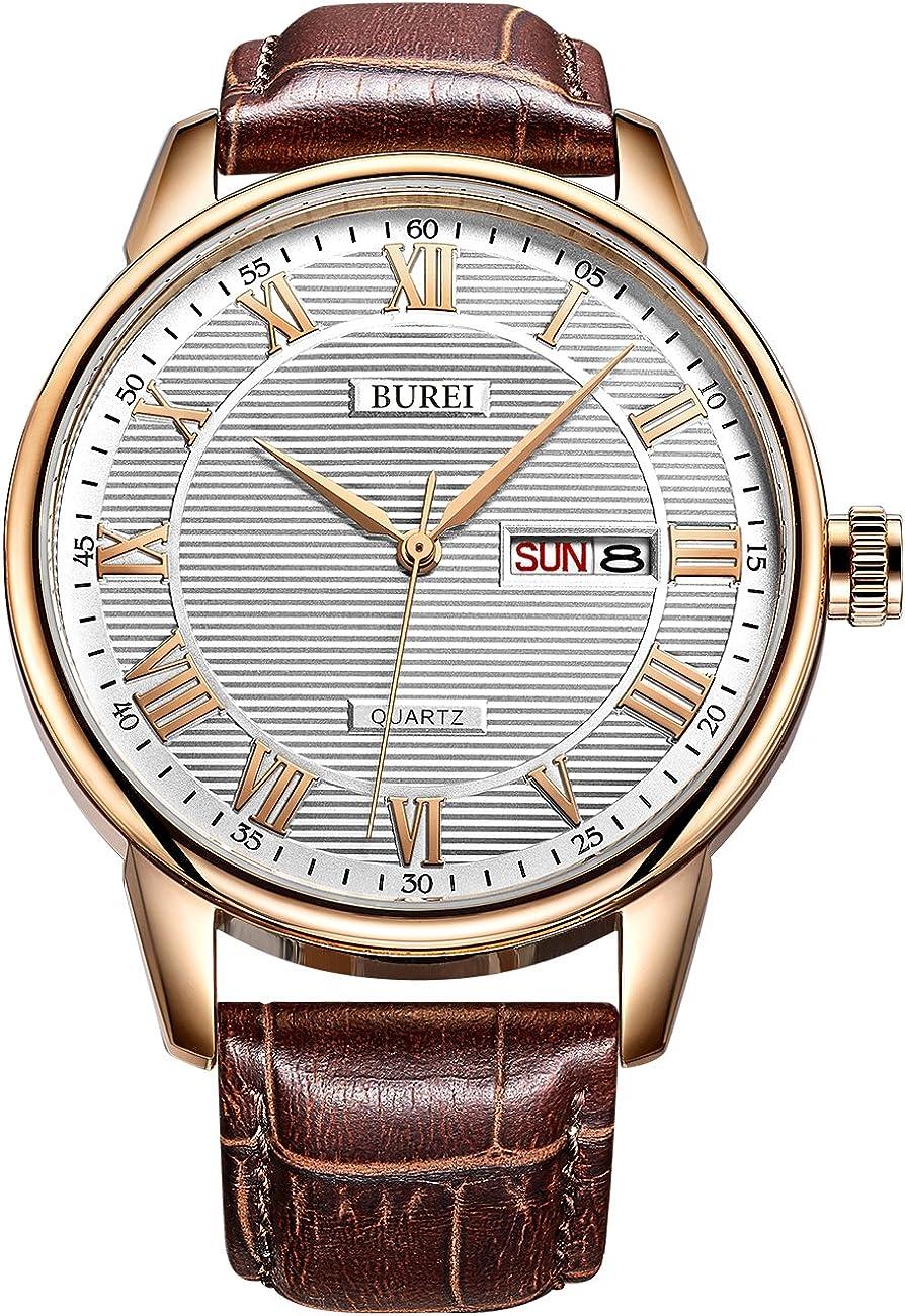 BUREI Men s Classic Quartz Wristwatch with Protective Mineral Glass Day Date Calendar Big Roman Numerals Texture Design and Leather Strap