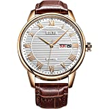 BUREI Casual Day Date Mens Watches with White Dial and Brown Leather Strap in Classic Design