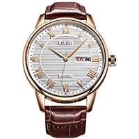 Men's Classic Quartz Watch With Protective Mineral Glass, Date, Large Roman Numerals, Textured Face and Leather Strap