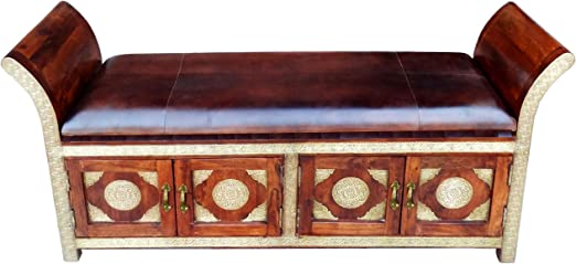 Marrakesch Moha - Banco de madera (155 cm, con latón), diseño vintage con caja para el pasillo,