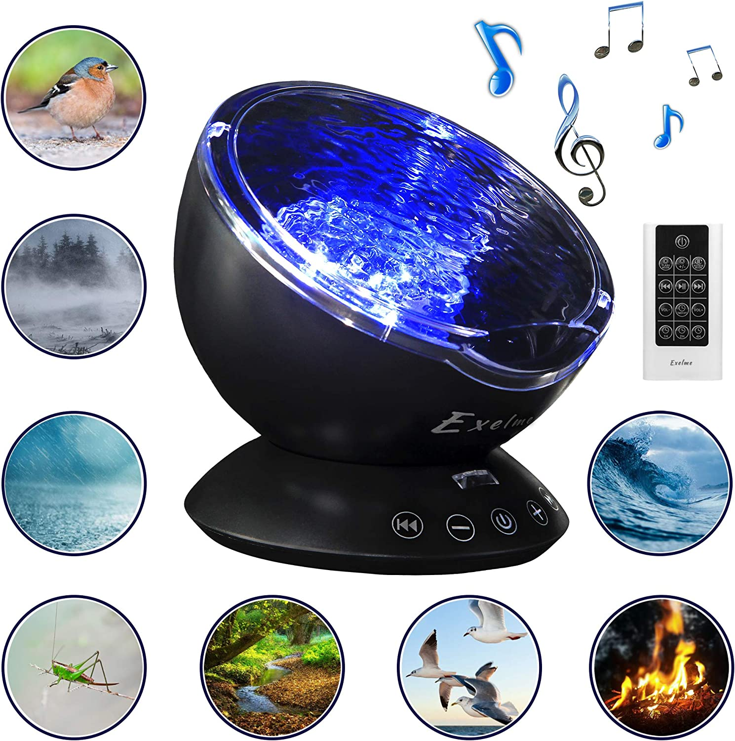 Ocean Wave Projector and Sound Machine 2 in 1 - Night Light Projector with Adjustable Brightness and Color Changing Wave Light Effects - Nightlight for Kids Adults Bedroom – Black