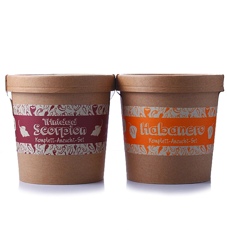 Spicy Garden - Chili-Pflanzen - Anzucht-Set mit Habanero & Trinidad Scorpion - Pflanzen-Kit - Einstieg in die Planzen-Zucht - ideal zum Verschenken PepperPark GmbH