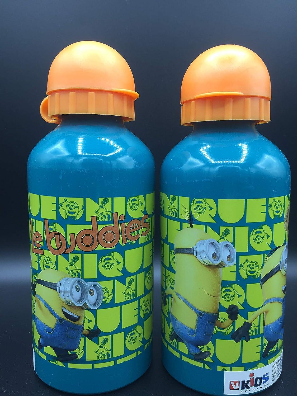 Una Botella de Agua de Aluminio, cantimplora a Prueba de Fugas sin BPA para Levar a la Escuela y Deportes el Termo 500ml para niños y niñas (Verde-Naranja)