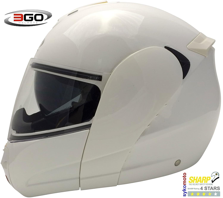 Amazon.es: 3GO E115 CASCO DE MOTO MODULAR INTEGRAL DOBLE VISERA HOMOLOGADO UNISEX ADULTOS BLANCO MUY BARATO (M (57-58 CM))