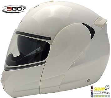 3GO E115 CASCO DE MOTO MODULAR INTEGRAL DOBLE VISERA HOMOLOGADO UNISEX ADULTOS BLANCO MUY BARATO (