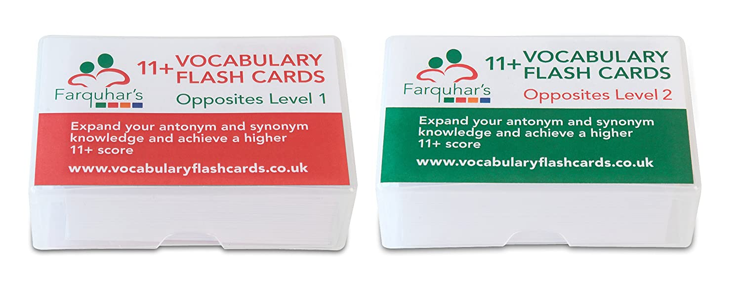 11+ Vocabulary Flash Cards - Opposites Level 1 and Level 2
