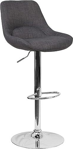 Flash Furniture Contemporary Dark Gray Fabric Adjustable Height Barstool