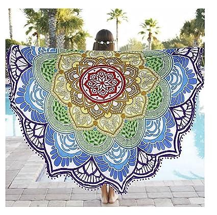 Tela, cubierta, toalla de playa, mantel, con diseño de loto y mandala
