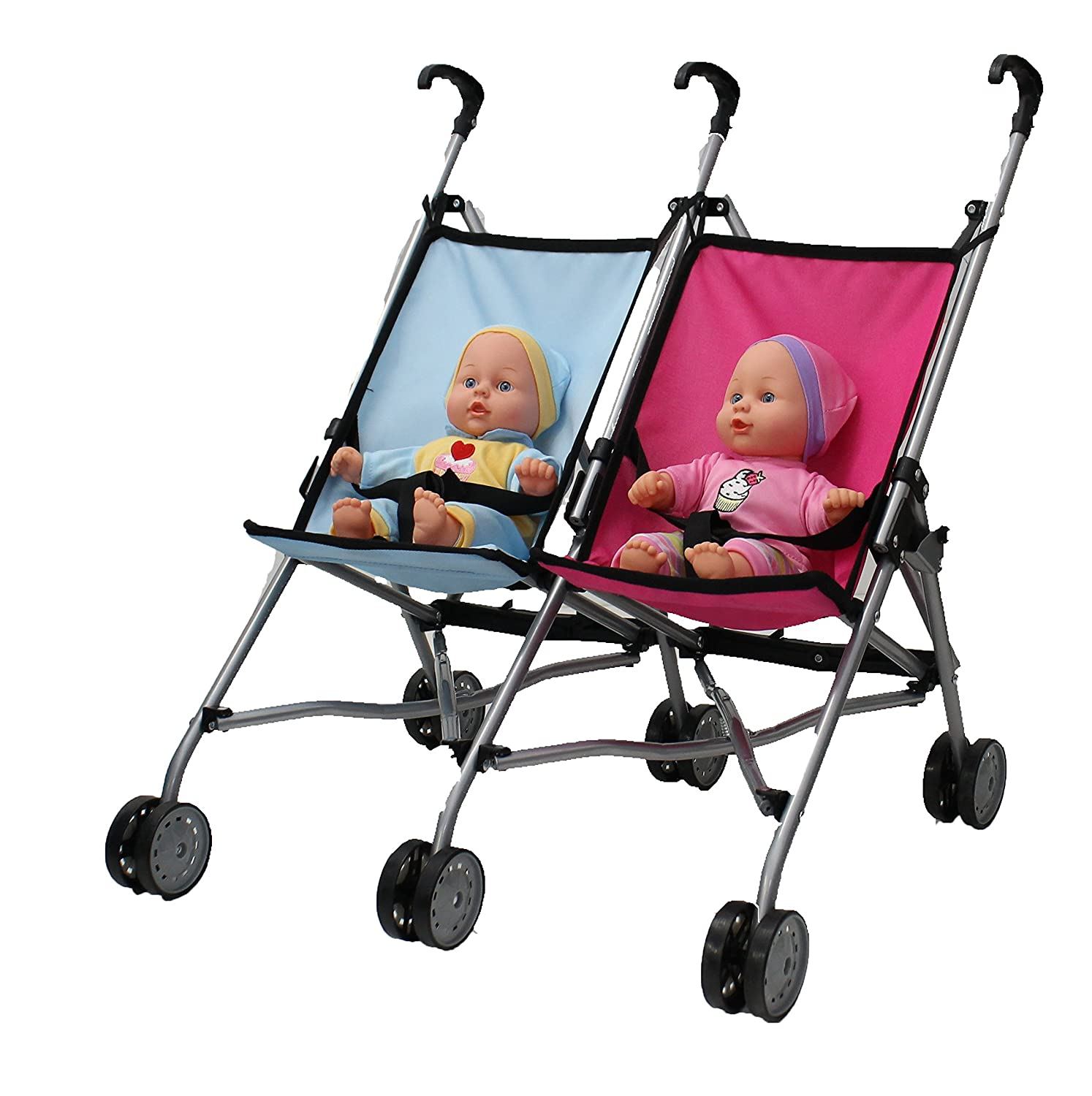 Mommy /& Me Twin Doll Stroller for 1 Boy Doll and 1 Girl Doll