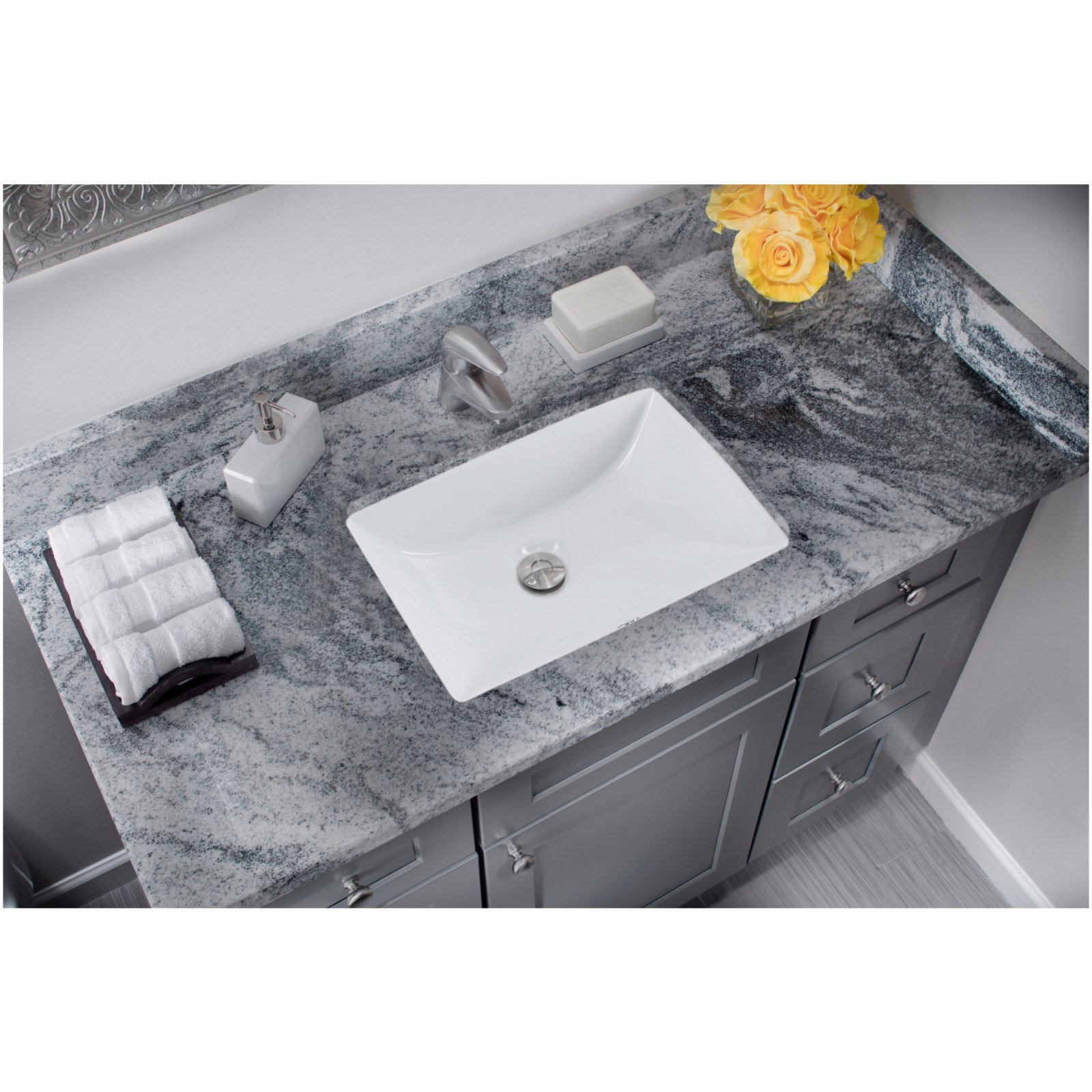 CAHABA CA425T1813-W 18 x 13 White Glazed Porcelain Bathroom Sink by CAHABA