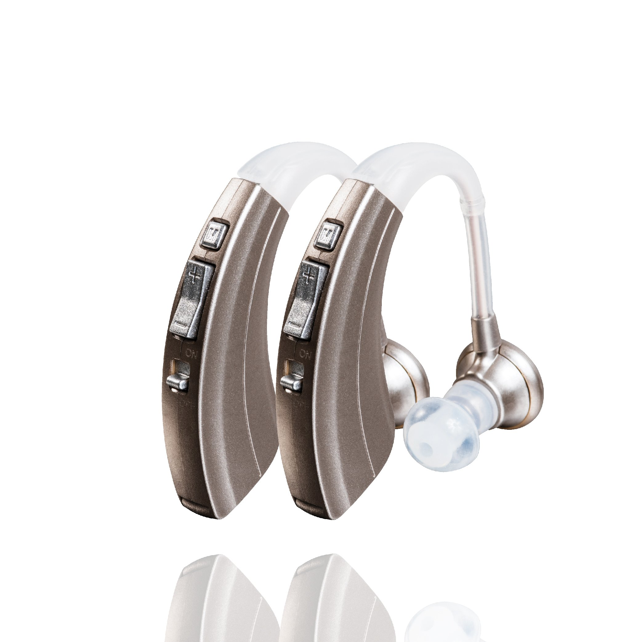 Britzgo BHA-220D Silver Hearing Amplifier, Modern and Fashion Designed Adjustable Tube to Fit Both Ears, Silver/Gray by Britzgo