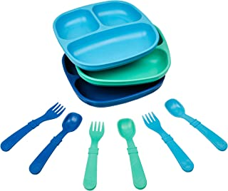 product image for Re-Play Made in The USA Dinnerware Set - 3pk Divided Plates with Matching Utensils Set (True Blue)