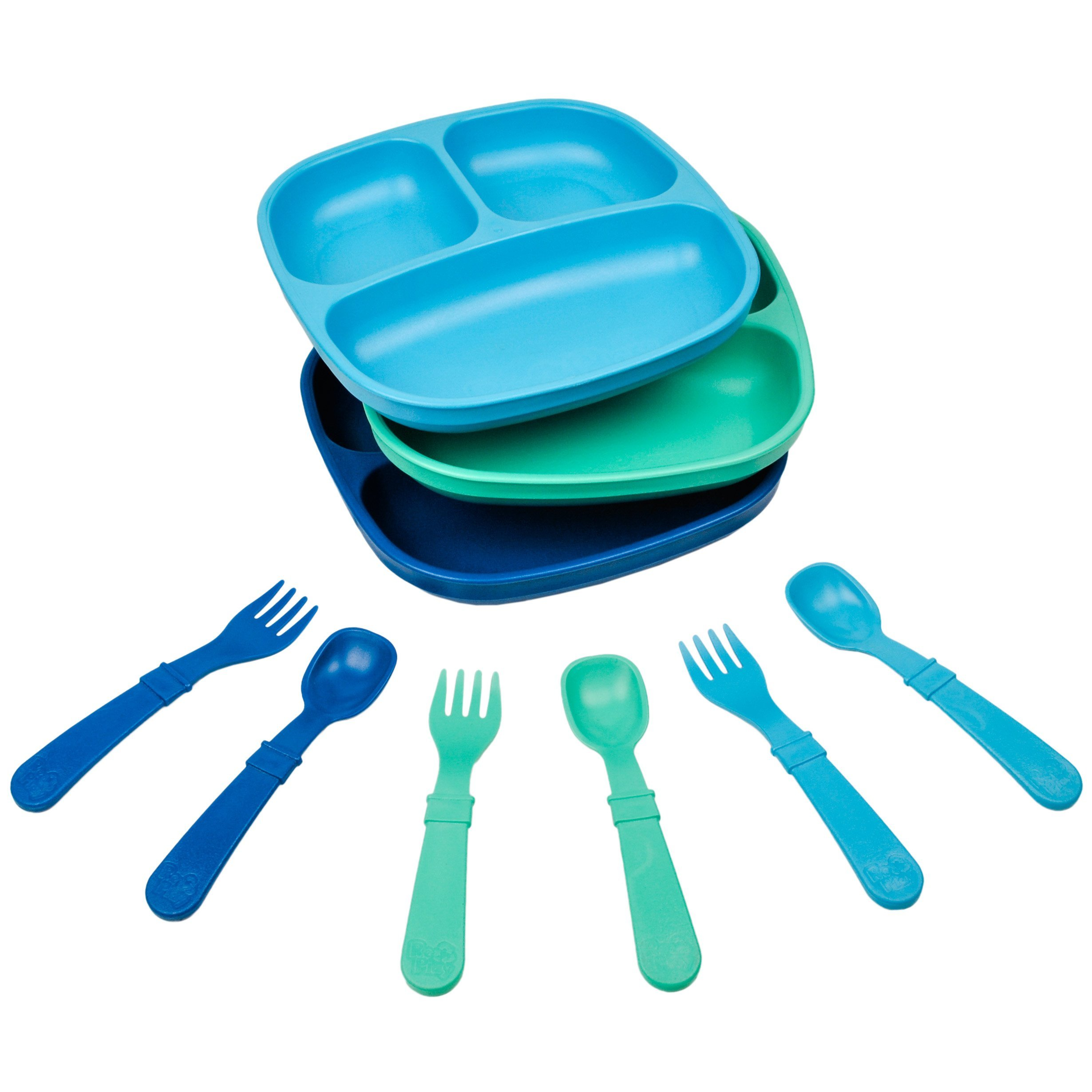 Re-Play Made in The USA Dinnerware Set - 3pk Divided Plates with Matching Utensils Set (True Blue) by Re-Play