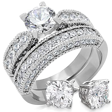 19f8ea34edec1 Bellux Women 2-Piece Wedding Rings Stainless Steel 2.3 Carats Cubic  Zirconia Anniversary Promise Ring Band CZ Bridal Set - Free 6mm Stud  Earrings - ...