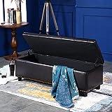 "Belleze 48"" Rectangular Faux Leather Storage Ottoman Bench Footrest, Large, Brown"