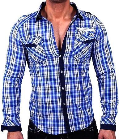 Baxboy H505 Moda Hombre VIP kontrasf arbige Camisa de Cuadros Color Blanco Verde Gris Lila Camiseta: Amazon.es: Ropa y accesorios