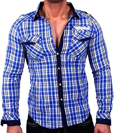 Baxboy H505 Moda Hombre VIP kontrasf arbige Camisa de Cuadros ...