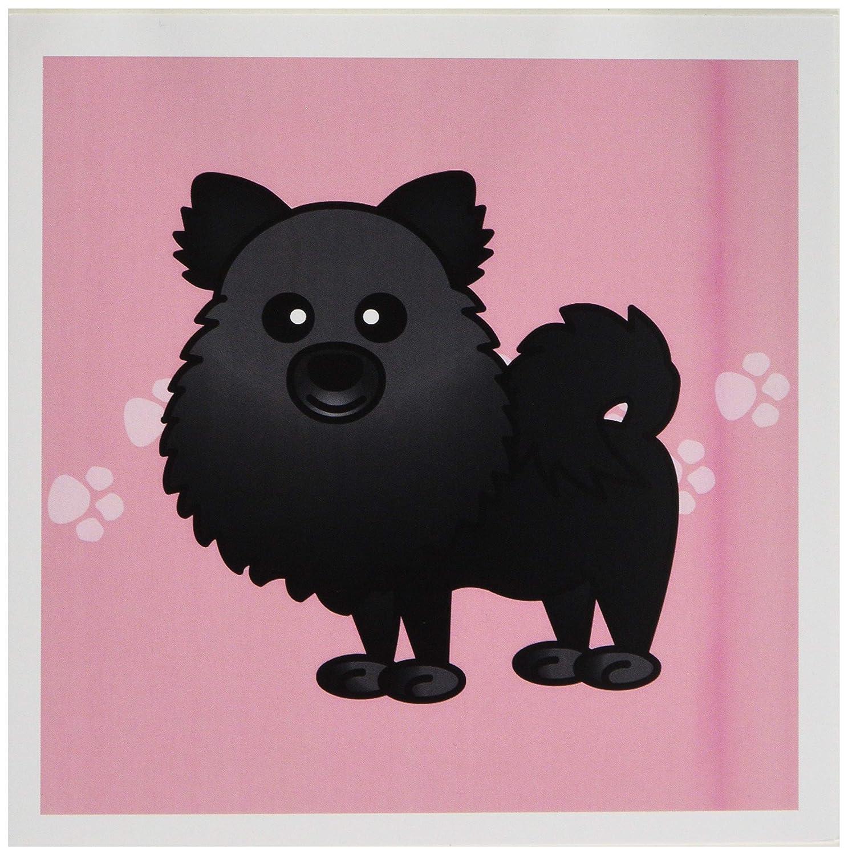 3Drose Lindo Negro Pomerania Rosa con huellas - - huellas Tarjetas de felicitación, 15,24 x 15,24 cm, juego de 6 (gc_10828_1) a8a769