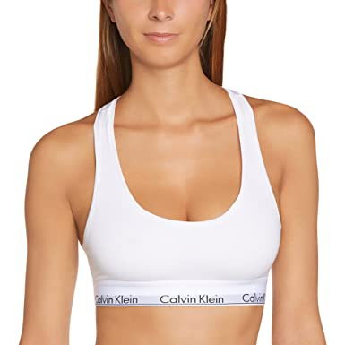 Calvin Klein 0000F3785E, Sujetador Para Mujer, Blanco (White 100), 40 (Talla fabriante: L): Amazon.es: Ropa y accesorios