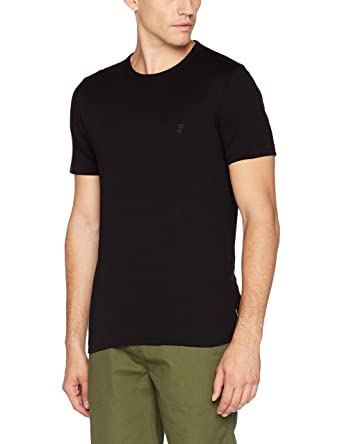 French Connection Men's Classic Crew T-Shirt, Multicoloured (Black/Gunmetal ),