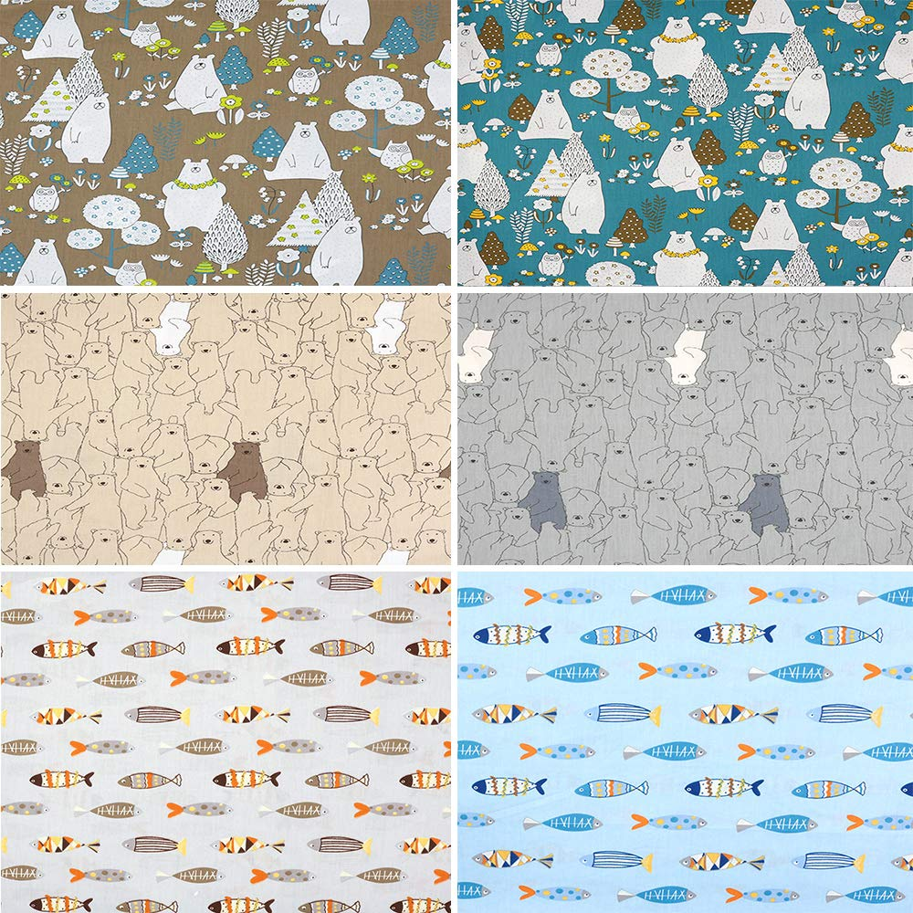 6 Pcs Bears and Fishes Multi Color 100/% Cotton Print Fabric Fat Quarter Bundle 46cm x 56cm Approx 18 x 22 Patchwork Sewing Quilting Fabric