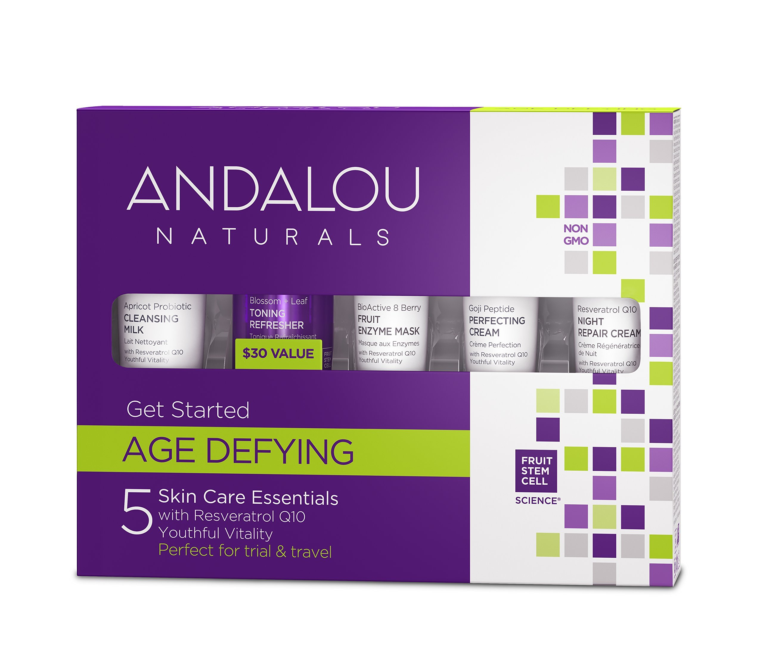 Andalou Naturals Age Defying Get Started Kit, 5 Piece Set, Minimize Fine Lines & Wrinkles with Cleanser, Toner, Mask, Day Cream, & Night Cream