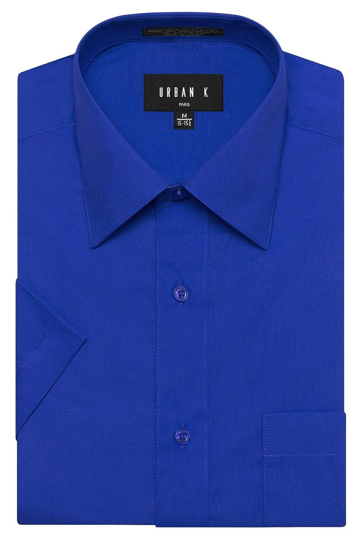 URBAN K メンズMクラシック フィット ソリッドフォーマル襟 半袖ドレスシャツ レギュラー & 大きいサイズ B06WD6N1B1 XL|Ubk_royalblue Ubk_royalblue XL