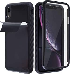 MONCABILE Stick on The Wall Phone Case That Sticks to Anything -[Drop Protection] Built in Screen Protector Anti Gravity Sticky Phone Case for iPhone XR (Black)