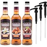 Upouria French Vanilla, Caramel & Hazelnut Flavored Syrup, 100% Vegan and Gluten-Free, 750ml bottles - Set of 3 - Pumps included