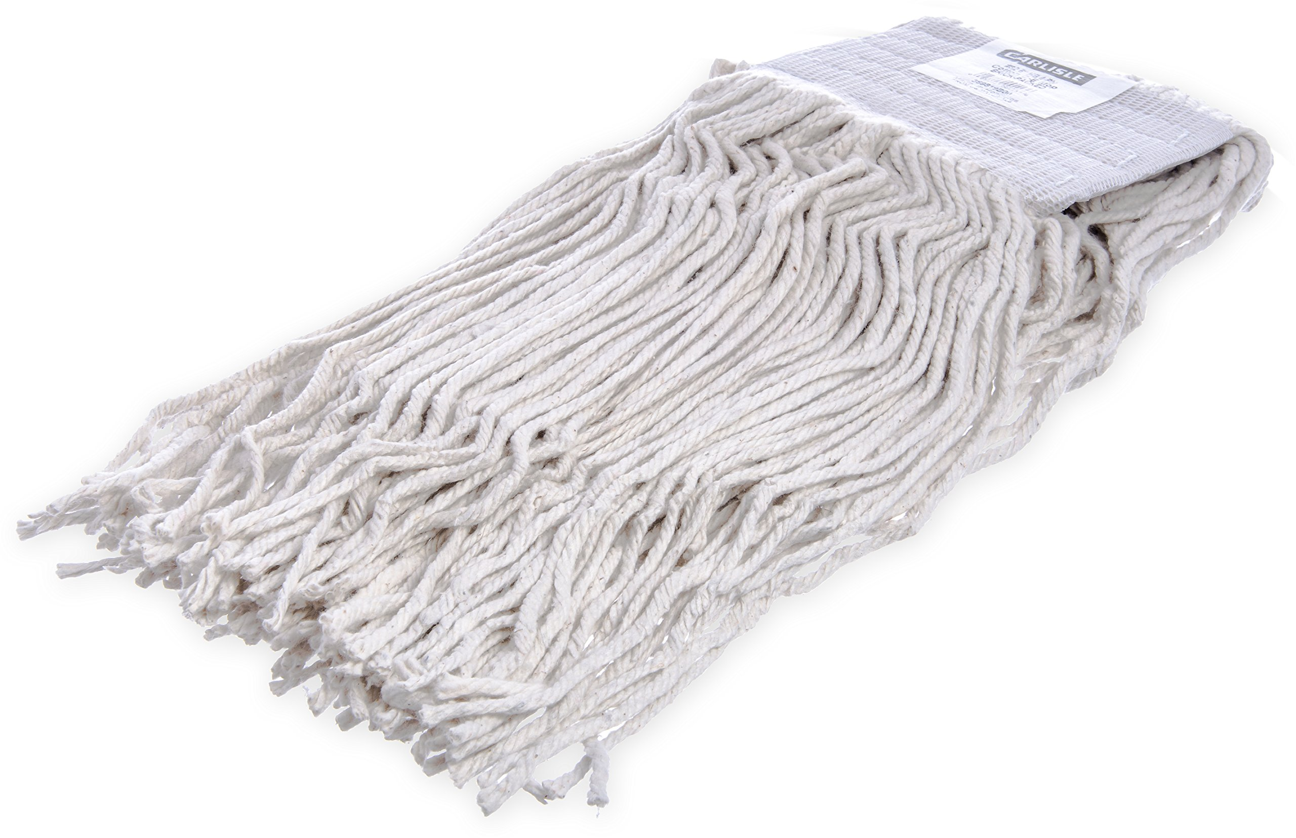 Carlisle 369819B00 #32 5'' Cotton Head Band X-Large Cut-End Wet Mop, White (Case of 12)