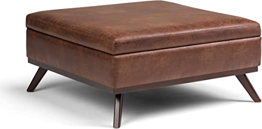 Simpli Home Owen Square Coffee Table Ottoman With Storage Distressed Saddle Brown Fabric Amazon Co Uk Kitchen Home