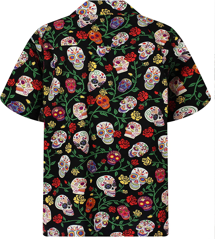 Original Camisa Hawaiana Negro Manga Corta Estampado Hawaiano 6XL Bolsillo Delantero D/ía De Muertos Cr/áneo Del Az/úcar XS Caballeros David Carey