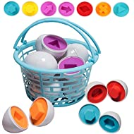 Prextex Easter Eggs Educational Shaped Puzzle in a Basket (12 Pack) Clever Matching Eggs