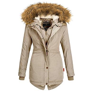 check out f7e3a 604c9 Marikoo Damen Winter Jacke Mantel Winterjacke Parka Wintermantel warm  gefüttert Doublezipper Akira97 XS-XXL 6-Farben